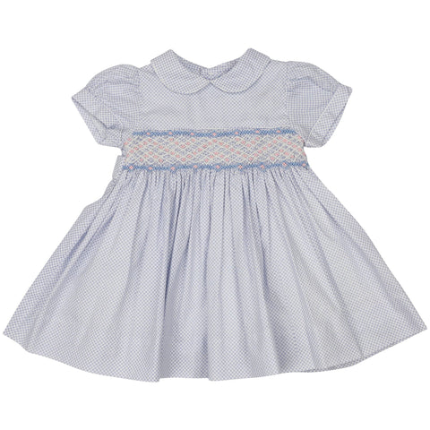 Blue Summer Style Smocked Dress