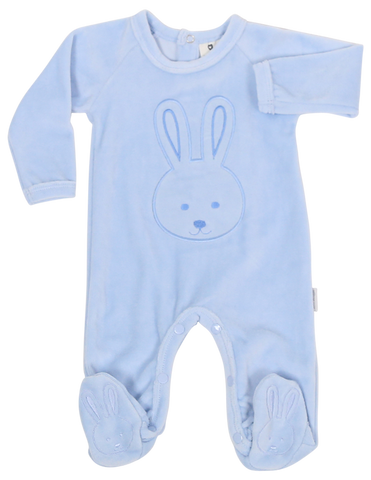 Baby bunny velour footie -BLUE
