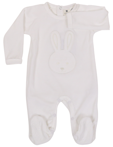 Baby bunny velour footie- White