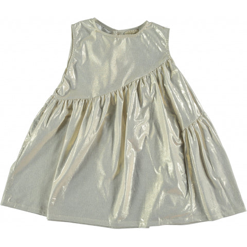 Metallic yellow organic cotton dress