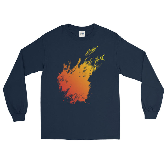 Orange Flame Men's Long Sleeve Shirt