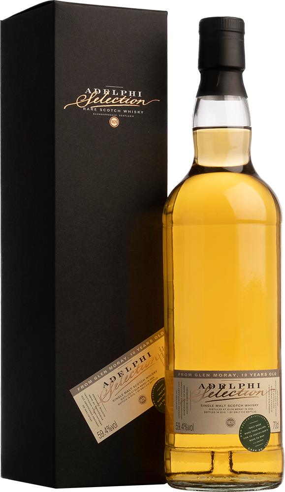 Adelphi 2008 Glen Moray Single Cask #5584 Bourbon Cask 10 Year Old Single Malt Scotch Whisky