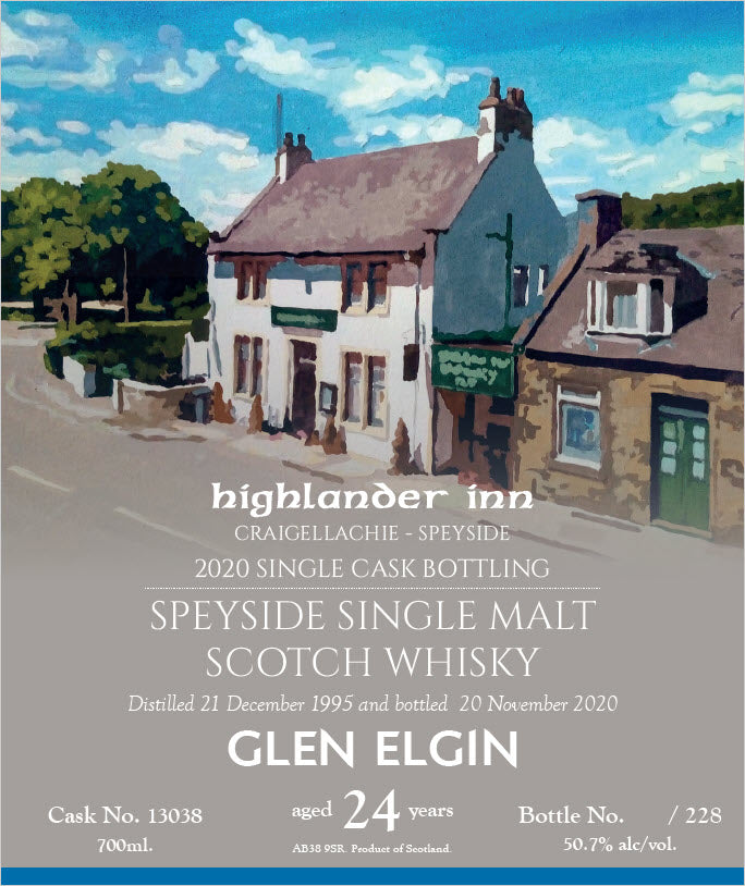 Highlander Inn 1995 Glen Elgin 24 Year Old Single Cask #13038 Single Malt Scotch Whisky