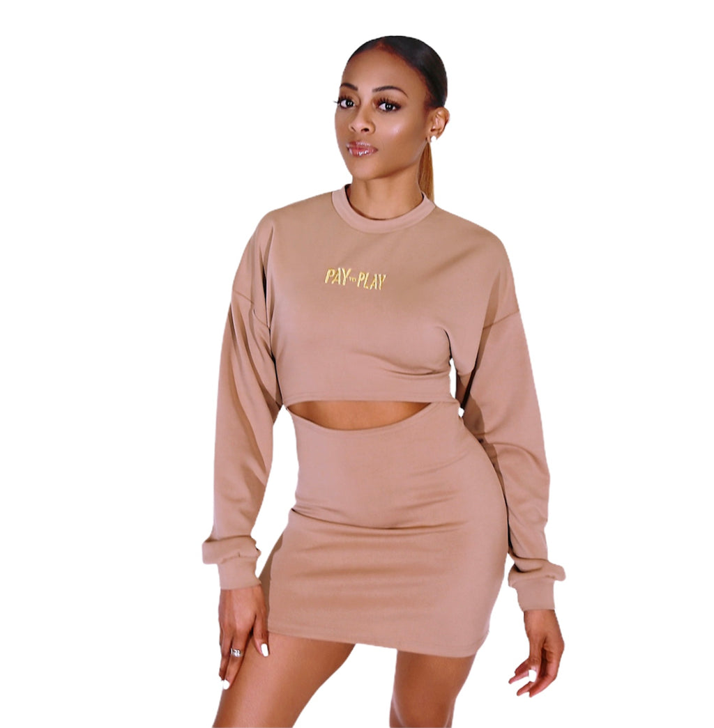 Pay to Play Cutout Sweater Dress