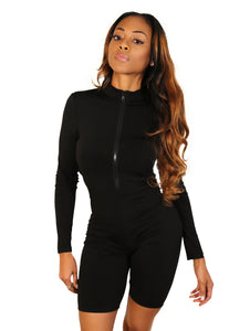Subtle Flex Black Long Sleeve Romper