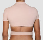 Fitted Cropped Mock-Neck Top