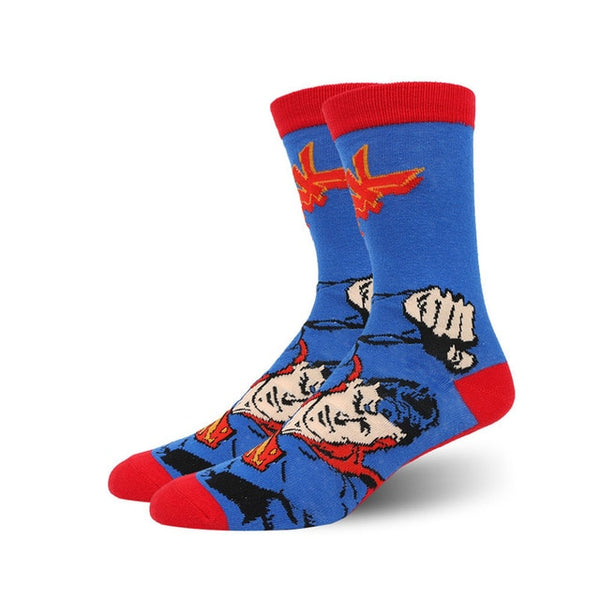 USA Fashion Cartoon Anime Superhero Socks Men Long Happy Art Funky Socks Crazy Cool Flash Superman Captain Avengers Socks