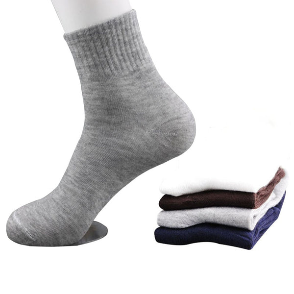 5 Pairs All Seasons Men's Business Casual Cotton Socks Spring Summer Autumn Winter Solid Colors Crew Socks Male Breathable Socks