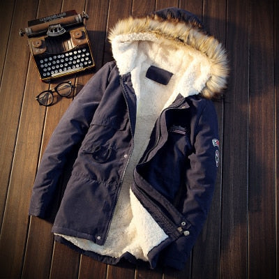 Men Coats Winter Casual Mens dressy Tops Jacket Male Slim Thicken Fur Hooded Outwear Warm Coat Top Brand Clothing