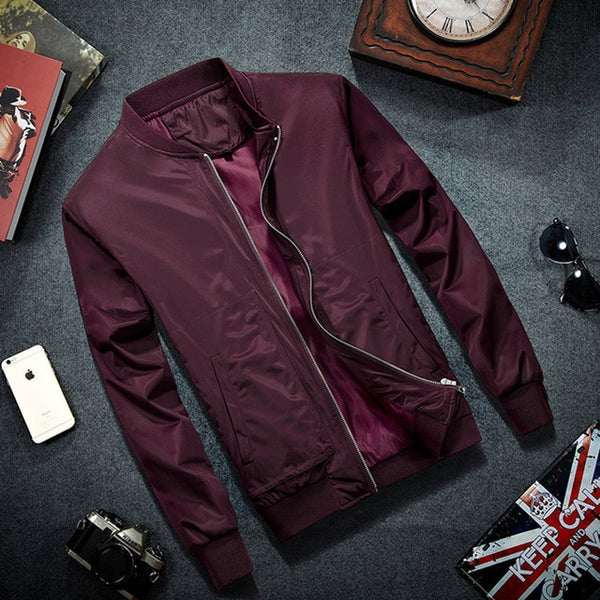 2019 Brand Mens Bomber Jacket Thin Men Baseball Jackets Coat Solid Color Casual Jacket Overcoat For Male Clothing