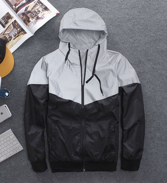 New full reflective jacket men / women harajuku windbreaker jackets hooded hip-hop streetwear night shiny zipper coats jacke