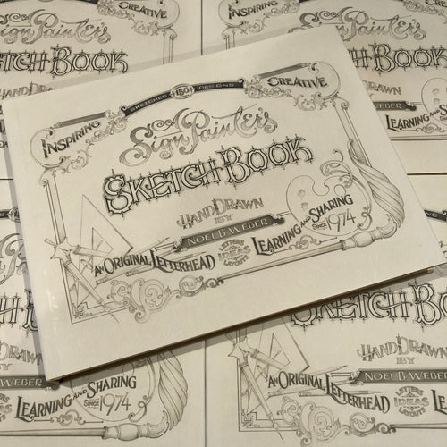 Belzel Books a sign painters sketchbook. Cover page, inspiring, creative, original letterhead, letters, ideas, layouts, hand drawn, guide, original