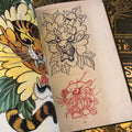 belzel books, cats-sketches by alex ge, cover, leopard, traditional, sketches, line drawing, tiger, peony, rose, flowers