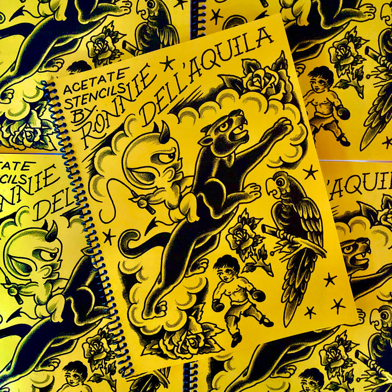 Belzel Books, acetate stencils, ronnie dellaquila, traditional, panthers, hot stuff, pariot, rose, clouds, lil fighter, stars
