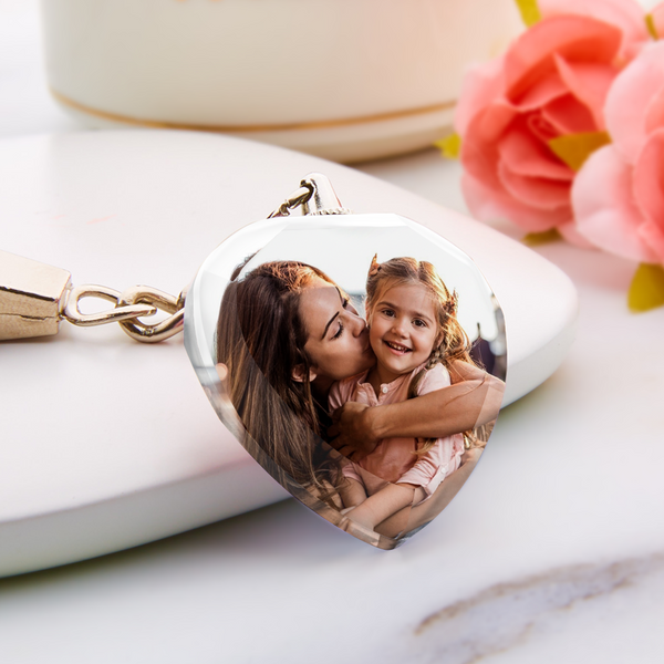 Mother's Day Gift Custom Photo Keychain Personalized Crystal Heart Keyring Photo Heart Shape Keychain