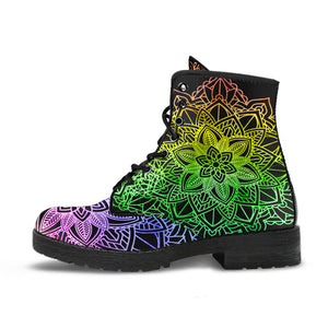 Rainbow Mandala Leather Boots