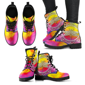 Watercolor Dragonfly Mandala Boots