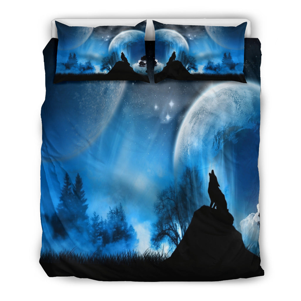 Full Moon Wolf Bedding Set
