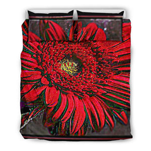 Red Floral Bedding Set