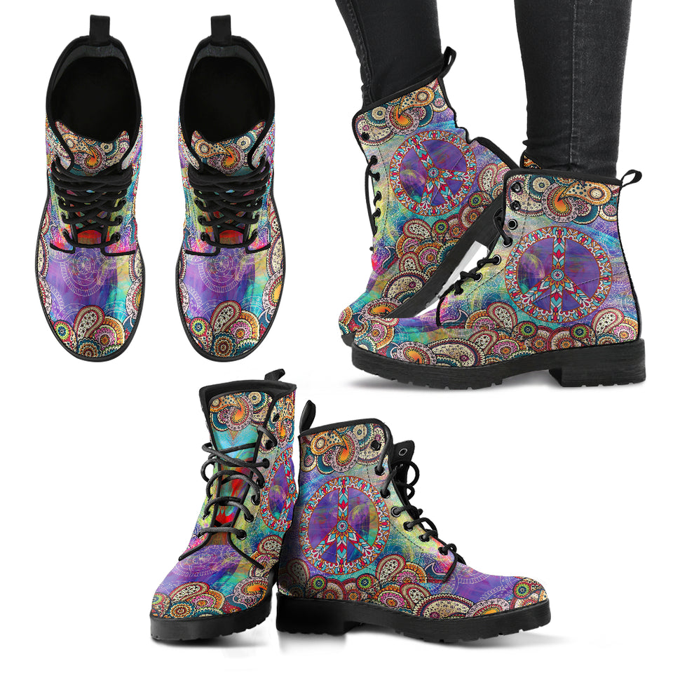 Hippie Watercolor Mandala Boots