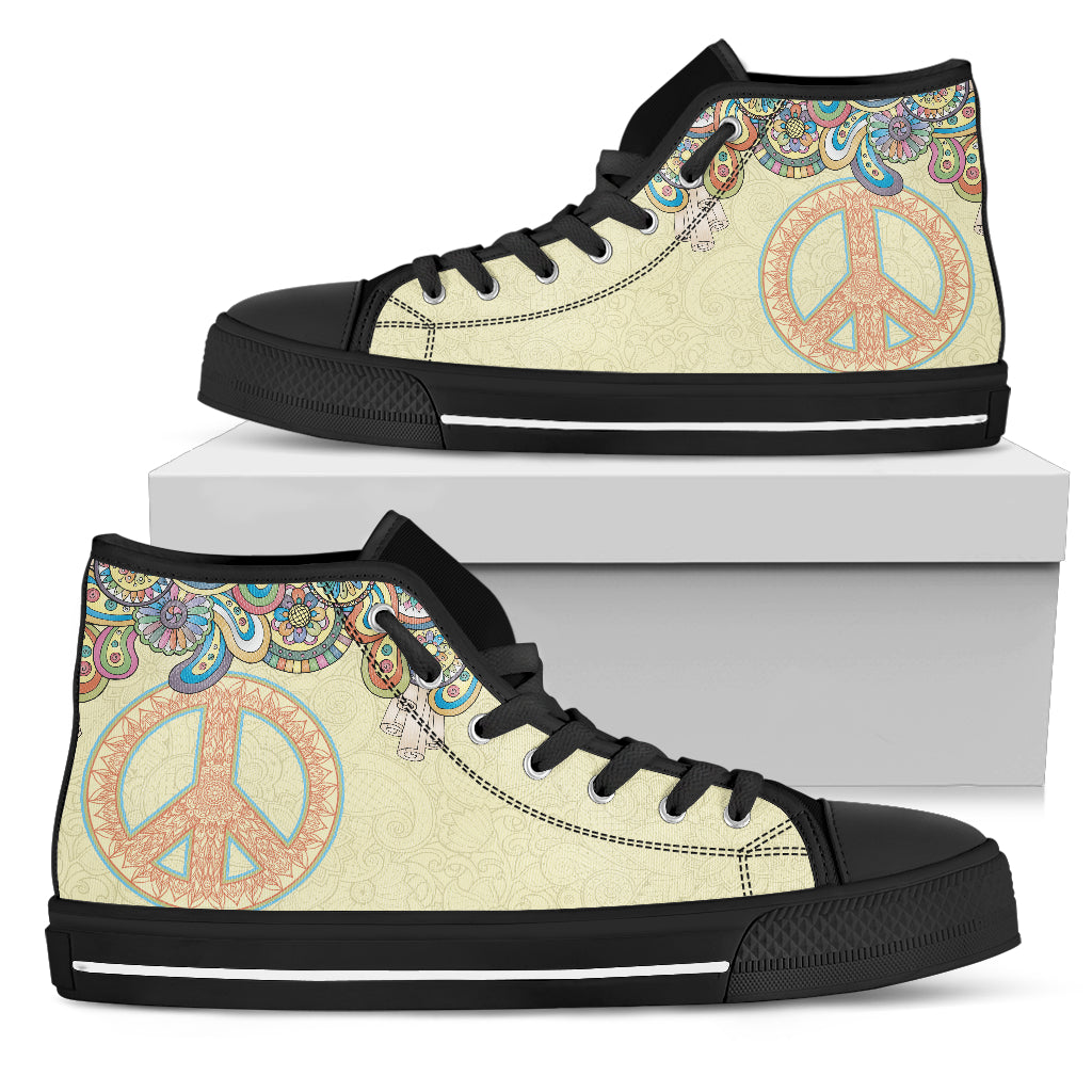 Peace Sign Boho High Tops