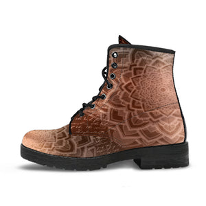 Coffee Mandala Leather Boots