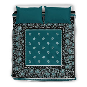 Teal and Black Bedding Set