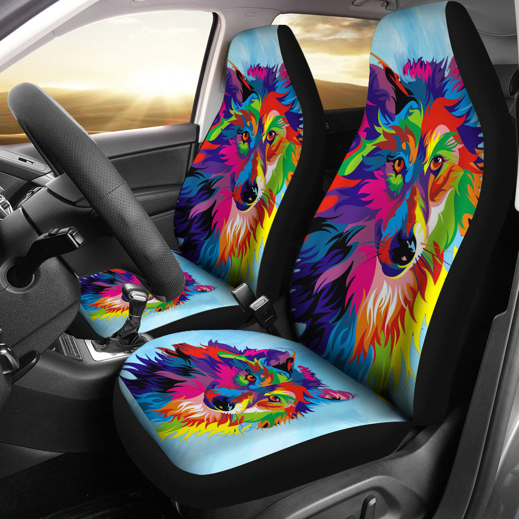Rainbow Wolf Car Seat Covers