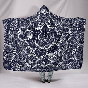 Black White Lotus Hooded Blanket