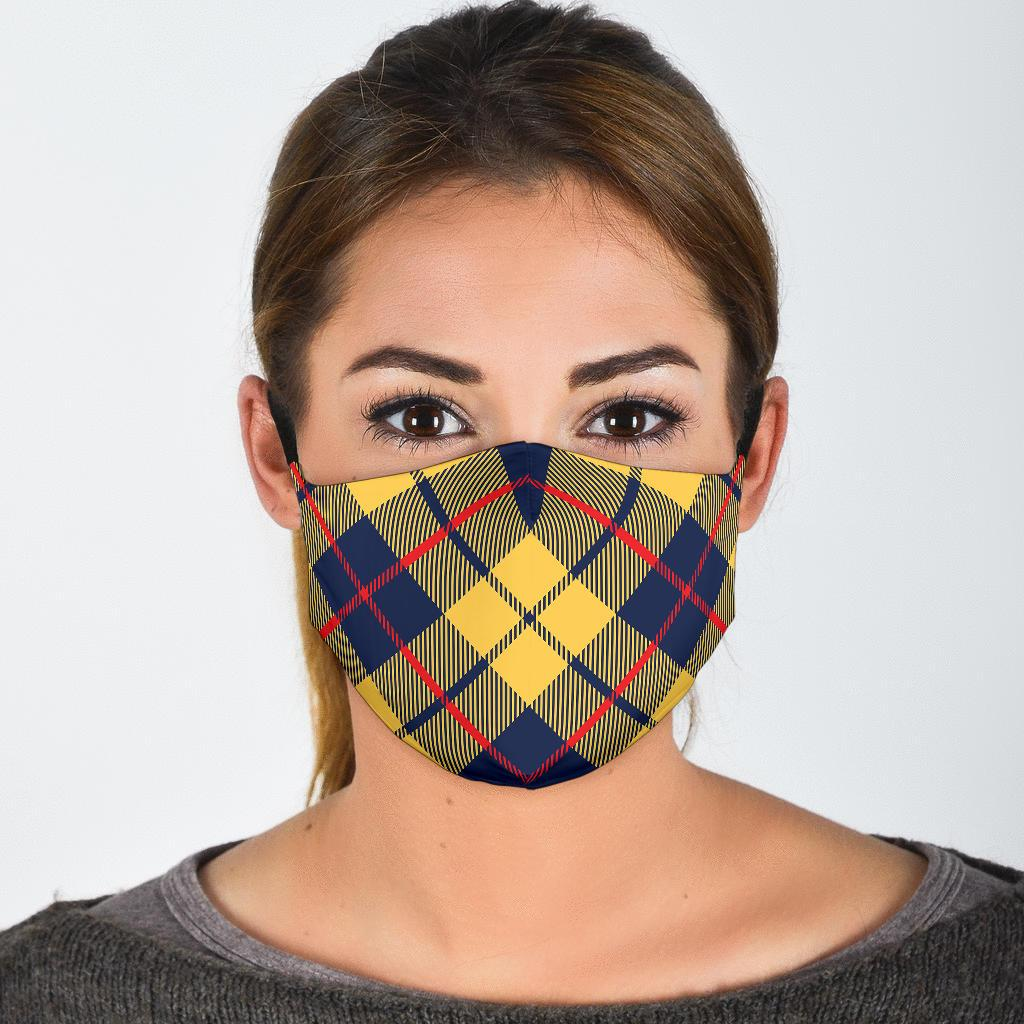 Yellow Blue Plaid Face Mask