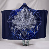 Blue Lotus Fractal Hooded Blanket