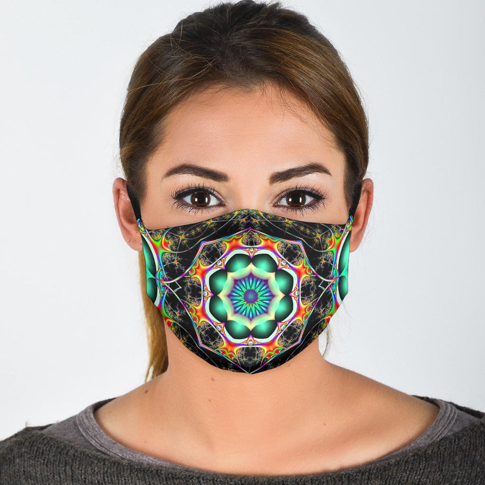 Black Fractal Face Mask