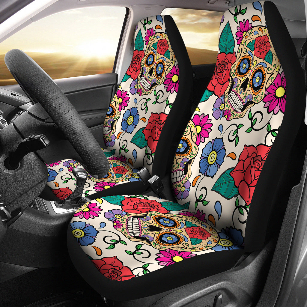 Flower Sugar Skull Car Seat Covers