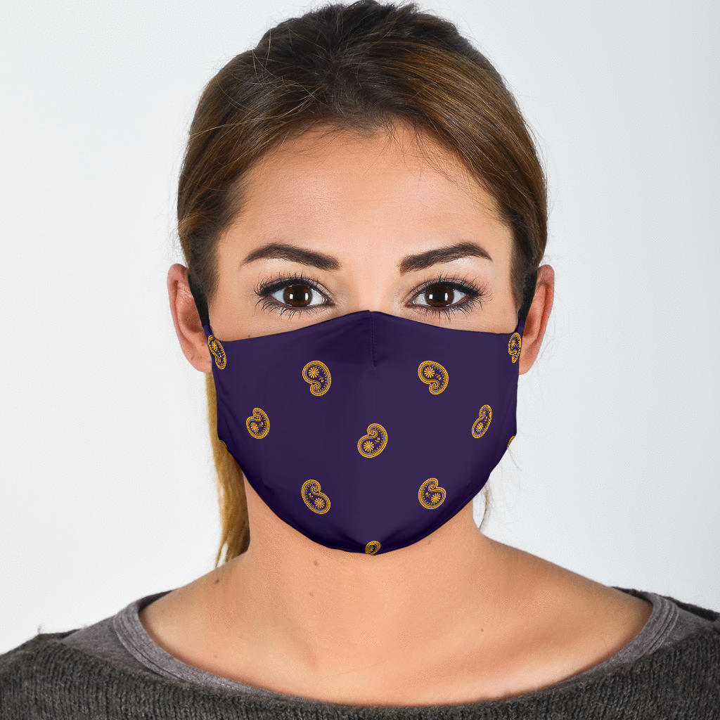 Purple Gold Paisley Face Mask