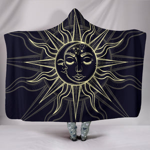 Black Sun Moon Hooded Blanket