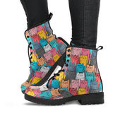 Colorful Cat Print Leather Boots
