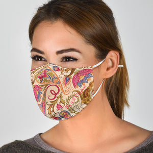Beige Floral Face Mask