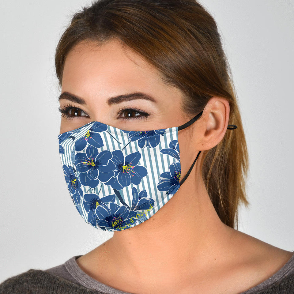 Blue Passion Flowers Face Mask