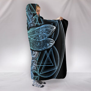 Blue Dragonfly Mandala Hooded Blanket