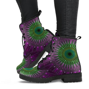 Purple Green Mandala Leather Boots