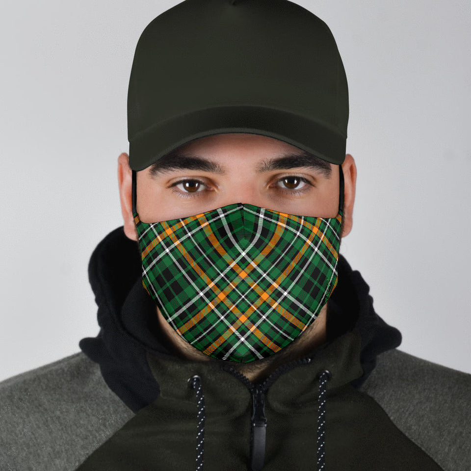 Green Plaid Face Mask