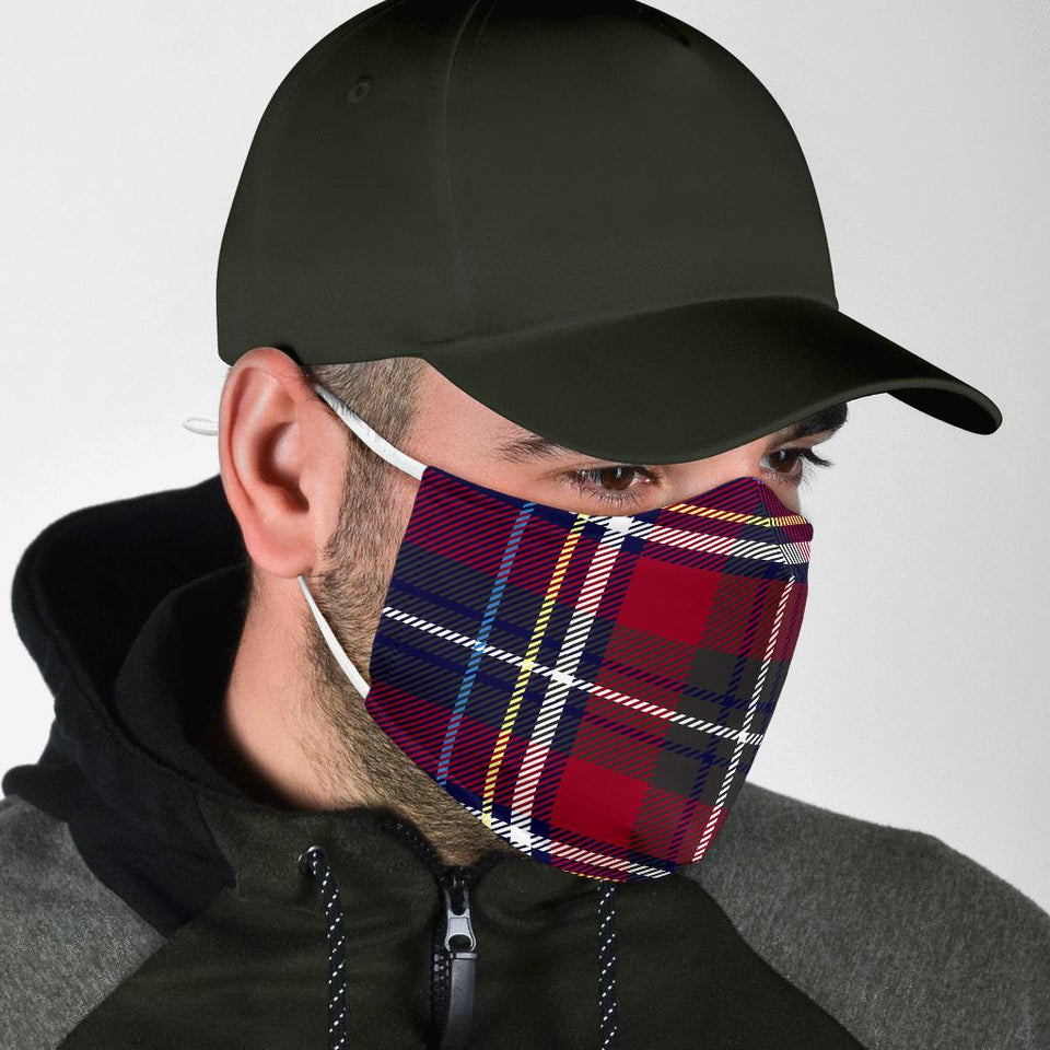 Red Blue Plaid Face Mask