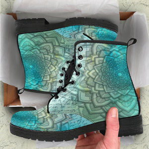 Aqua Flower Leather Boots