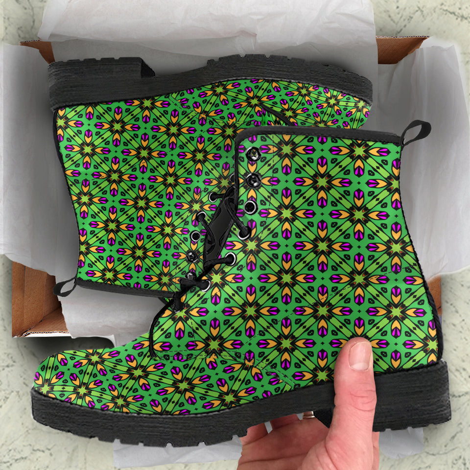 Green Pattern Boots