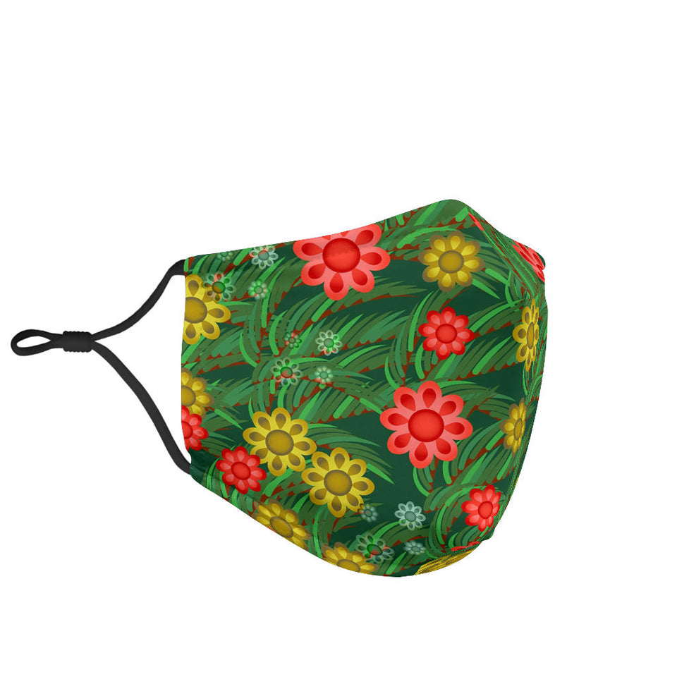 Red Flower Garden Face Mask