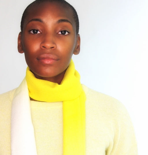Alpaca Hand-Dyed Ombre Wool Scarf - Yellow & Natural White