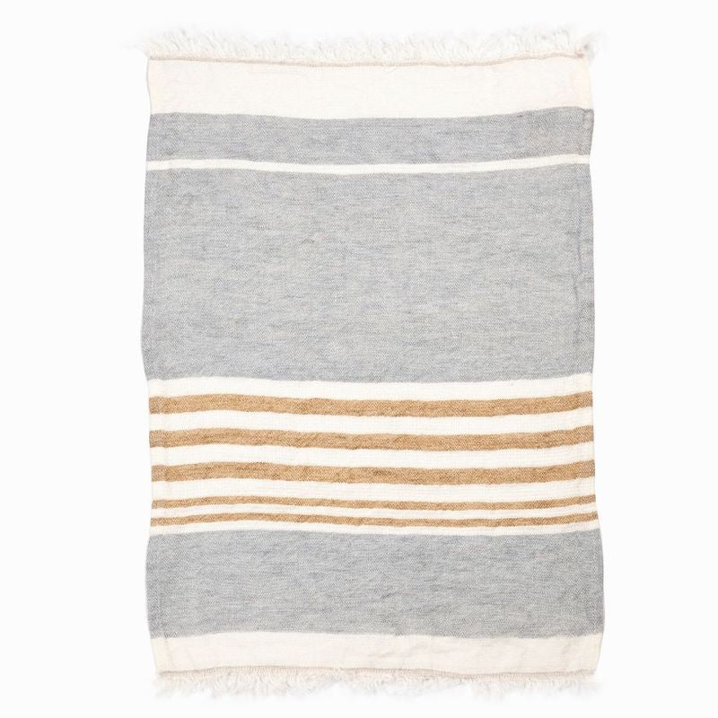 Belgian Linen Throw & Towel - Ash Stripe