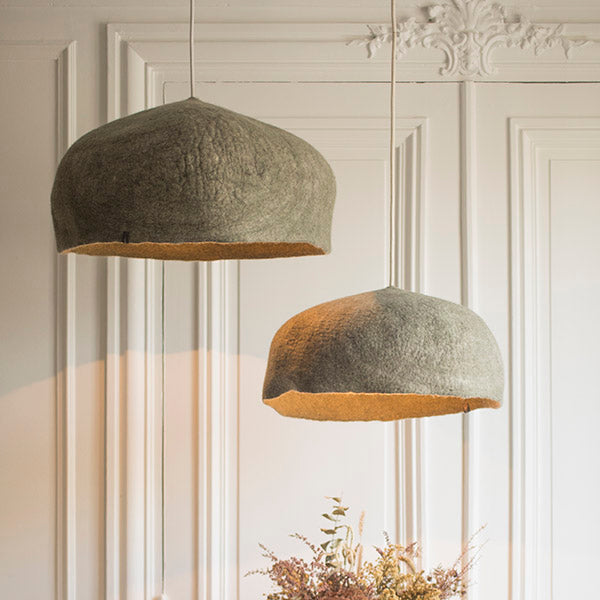 Felt Lampshade XXL - Reversible Mineral Grey / Light Stone