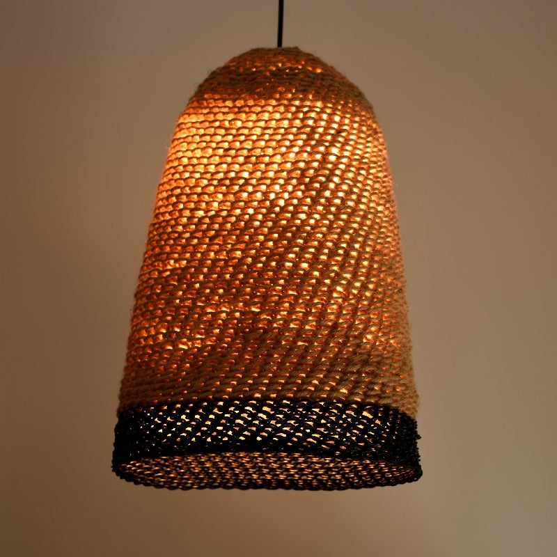 Knitted Hemp & Leather Lampshade