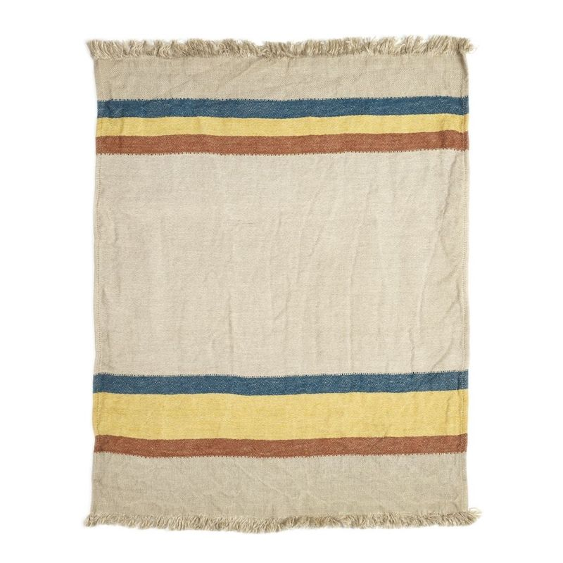 Belgian Linen Throw & Towel - Mercurio Stripe